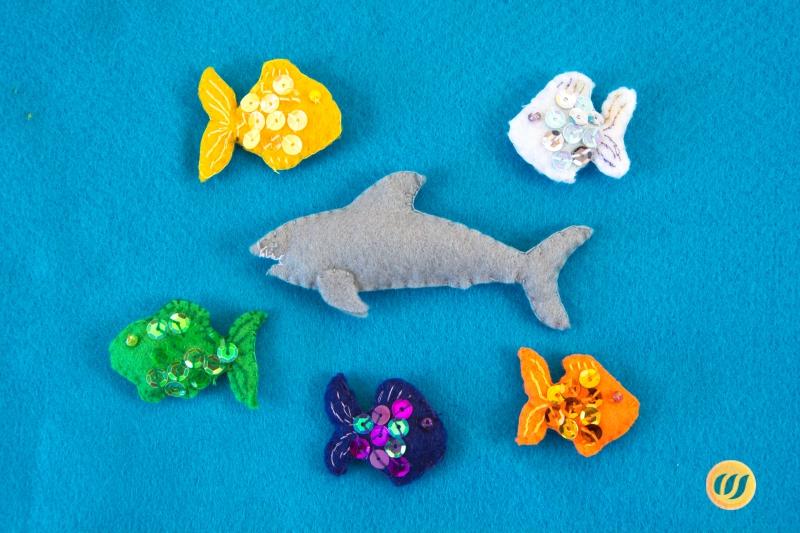 5 kleine fische filzmatte wunderwerkstatt for Kleine fische